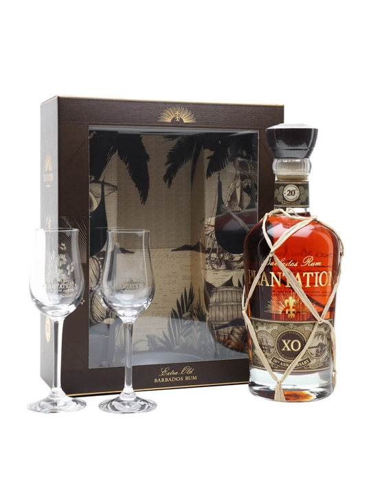 Plantation Xo 20th Anniversary With Two Glasses Gift Set