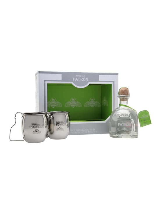 Patron Silver Tequila / Mule Mugs Gift Set