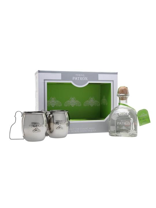 Patron Silver Tequila / Mule Mugs Gift Set