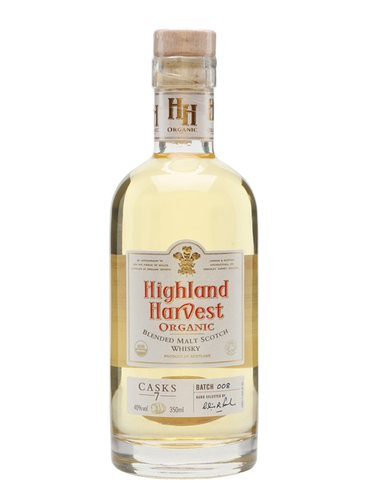 Highland Harvest Organic Blended Malt / 7 Casks /half Bottle Blended Whisky